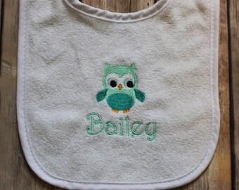 Personalized Owl Baby Bib, Monogrammed Owl Baby Bib, Owl Baby Bib