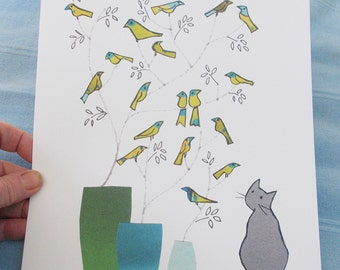 A4 PRINT .Blue vases  Grey cat .  Cat looking on wistfully at little green birds on twigs .Printed card from collage original.