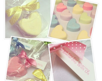Wedding Favours -30 Bath Fizzies, Heart Bath Gift