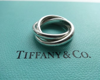 Authentic Tiffany & Co. Sterling Silver Triple Rolling Band Ring Size 5.25