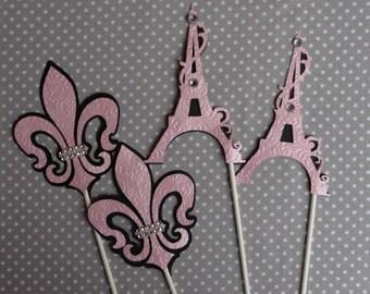 Paris theme/ Paris  centerpieces/ Fleur de lis and Eiffel tower/ Pink and black Paris theme