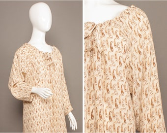GIVENCHY 70s Boho Paisley SMOCK Silk Tunic Dress UK One Size