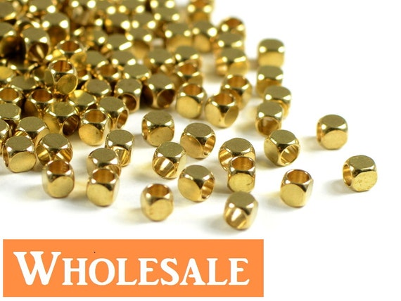 3mm Brass cube WHOLESALE, cornerless square metal spacer beads, rounded square raw brass beads - 200 pcs/ order