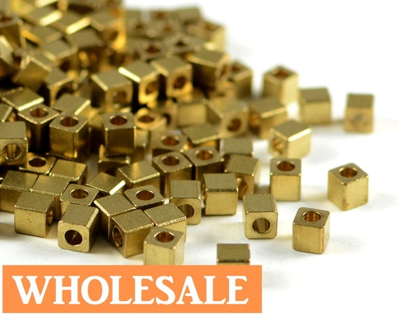 3mm Brass Cube WHOLESALE, metal square spacer beads, smooth edge, raw brass beads, light weight  - 200 pcs/ pkg