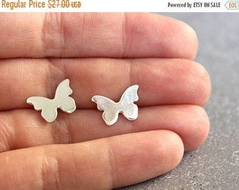 SUMMER SALE Butterfly stud earrings, Silver butterfly post earrings, Simple everyday jewelry, Birthday gift for her