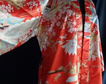 Vintage Kimono robe  NOS  red satin print