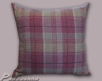 Pink plaid pillow cover. Scottish plaid. Tartan tweed. Tweed pillow cover. Throw pillow cover. Kincraig Rose Fabric from Moon. Pink heather.