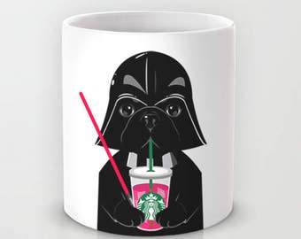 Personalized mug cup designed PinkMugNY - I love Starbucks - French Bulldog wearing a Darth Vader costume - Black