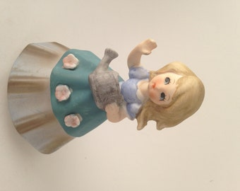 Sweet Little Blonde Girl with Flower Dress and Watering Can, Farmgirl with Blue Skirt