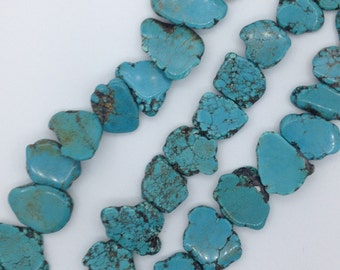 "Turquoise Loose Beads  16""  Slab  Flat"