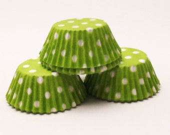 48 Lime Green with White Polka Dots Standard Size Cupcake Liners Baking Cups Greaseproof