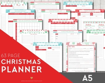A5 CHRISTMAS Planner - Holiday Printable Planner Inserts Filofax - Budget, Party Planner, Christmas Dinner, Letter to Santa INSTANT DOWNLOAD
