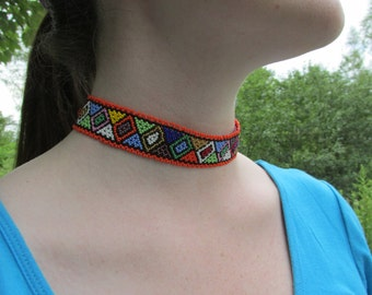 African Bead Choker Necklace Handcrafted Zulu Beadwork