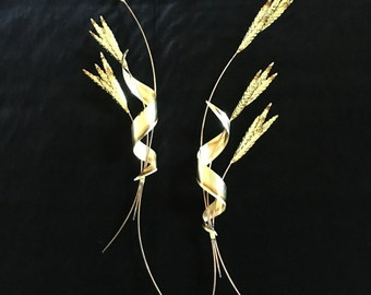 Vintage Metal Wheat Wall Decor Pair Home Interiors Gold Copper