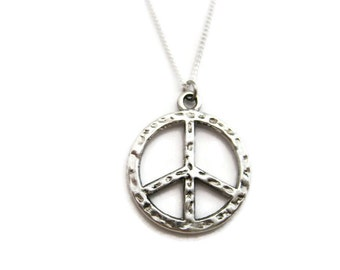 Peace Sign Necklace Peace Necklace Peace Sign Jewelry Peace Jewelry Choose Your Chain Necklace Peace Gift