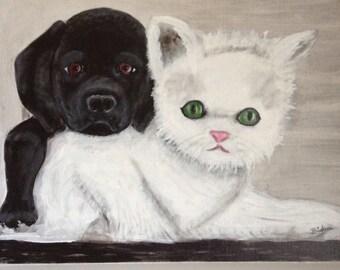 Kitten and Puppy Art/Painting