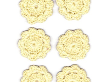 6 crocheted pale yellow flowers embellishment appliques