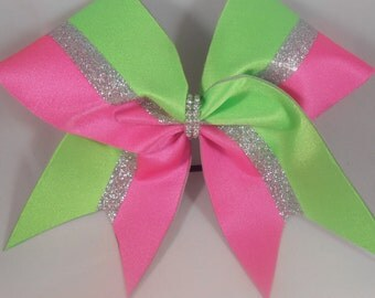 Cheer Bow Lime Green Silver Glitter Hot pink by blingitoncheerbowz