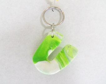 Polymer Clay Letter Keychain {U}