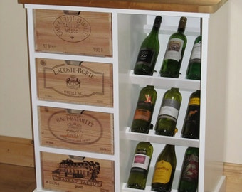 Wine rack with authentic French wine boxes as drawer