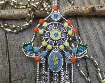 Hamsa necklace, Hamsa hand, spiritual hand, yoga charm, Hand of Fatima, meaningful! Namaste
