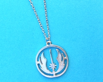 """Handcrafted """"Rebel Alliance"""" Silver Charm Necklace - Your Choice of Chain Length - Star Wars Inspired"""