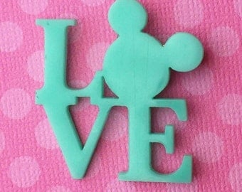"Handmade ""All you Need Is Mouse Love"" Aqua Teal Mickey Mouse Love Inspired Brooch"