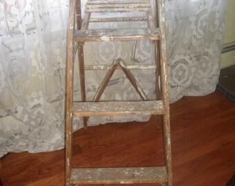 CLEARANCE  SALE vintage wood painters  ladder old wooden folding  step ladder