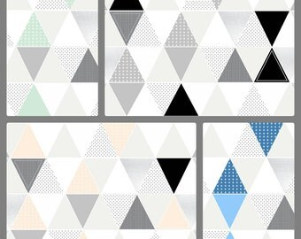 Pattern Play Crib Quilt // Gray // Peach // Mint // Blue- baby bedding // Choose your colors