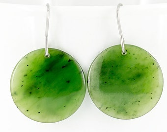 Nephrite Jade Disc Earrings