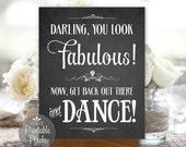 "Bathroom Sign ""Darling You Look Fabulous"" Chalkboard Digital Printable Instant Download (#FAB1C)"