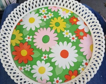 Vintage NEVCO tray - floral tray - vintage flower tray - serving tray - serving platter - vintage serving tray - vintage platter - 70s tray