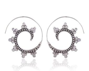 Ethnic Hoop earrings,Tribal Ethnic brass earrings, gypsy earrings.