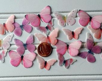 24 MINI Pastel Pink Edible Wafer Butterflies