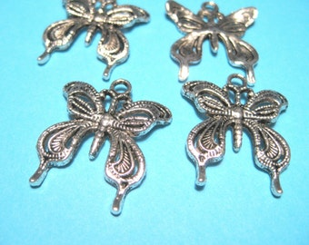 10pcs Antique Silver Filigree Butterfly Charms Pendants