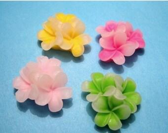 50% OFF Clearance Sale 10pcs Flatback Resin Flower Cabochons 21mm