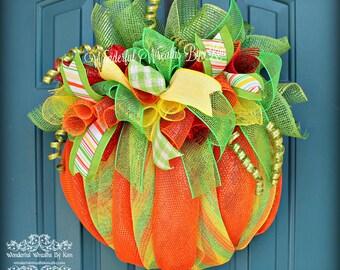 Pumpkin Deco Mesh Wreath - Autumn Wreath - Fall Wreath - Harvest Wreath - Thanksgiving Wreath - Halloween Wreath - Orange Pumpkin -  Mesh
