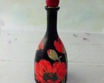 Decoupage bottle,  upcycled bottle,  poppy motif decor,  black and red home decor,  kitchen decor, liqueur bottle, altered bottle