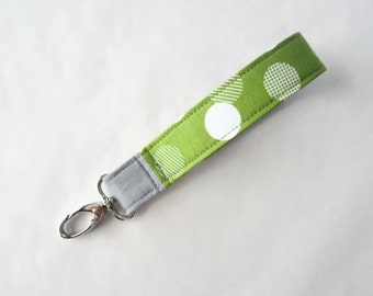 Fabric wristlet keychain key fob green with irregular polka dots with gray (KF15-034)