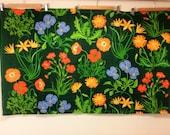 retro floral fabric Scandinavian design valance panel curtain gorious colors 1970s home decor