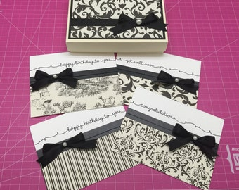 Elegant Black and Off White Handmade Cards Set in a Box