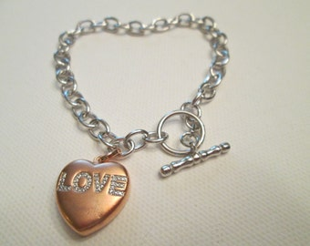 Heart Sterling silver and Rose Gold Plated link bracelet