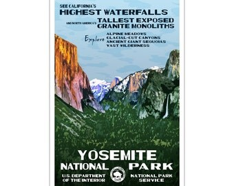"Yosemite National Park Poster, WPA style 13"" x 19"" Signed by the artist.  FREE SHIPPING!"