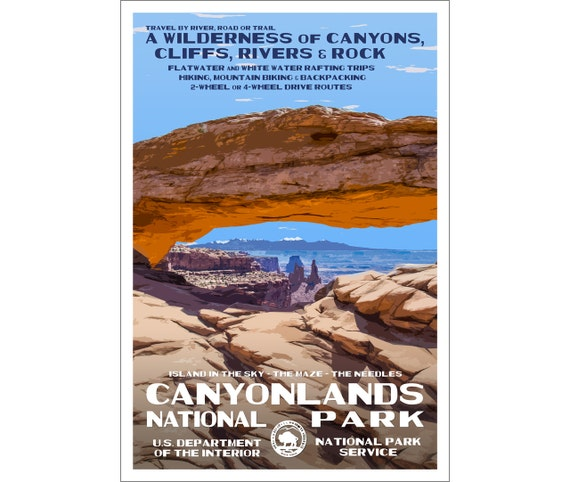 Original National Park Posters: Canyonlands National Park WPA Style Poster. 13 X