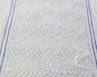 Vintage Blue Chenille Bedspread Twin Size Bedding Cottage Shabby Chic