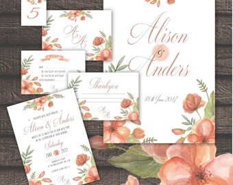 Wedding Invitation Package Apricot Watercolor