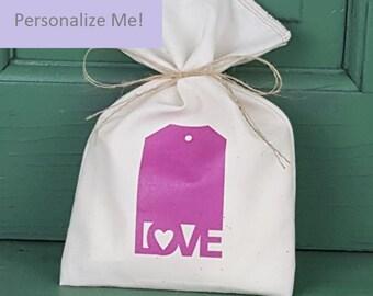 Baby Shower Favor Bag, Muslin Bag, Love, Fabric Bag, 5 x 8, Girl, Girl Baby Shower