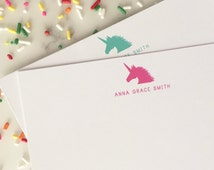 Unicorn Stationary - Girls Stationery Set of 20 Flat Note Cards