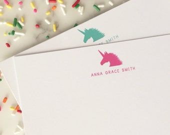 Unicorn Stationary - Girls Personalized Stationery Set of 20 Flat Note Cards
