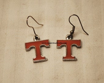 Vintage Tennessee Vols Power 'T' Wire Dangle Pair Earrings